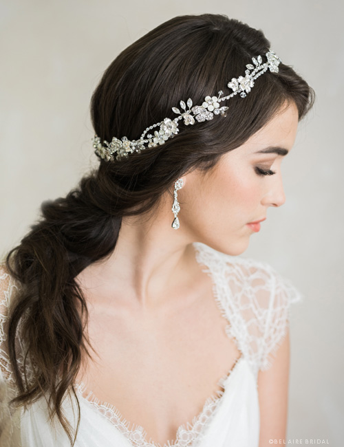 6742  Flexible halo of flowers and rhinestones