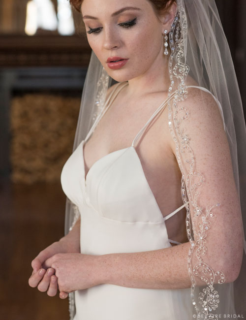 V7361C 1-tier cathedral veil with silver embroidered scrolls
