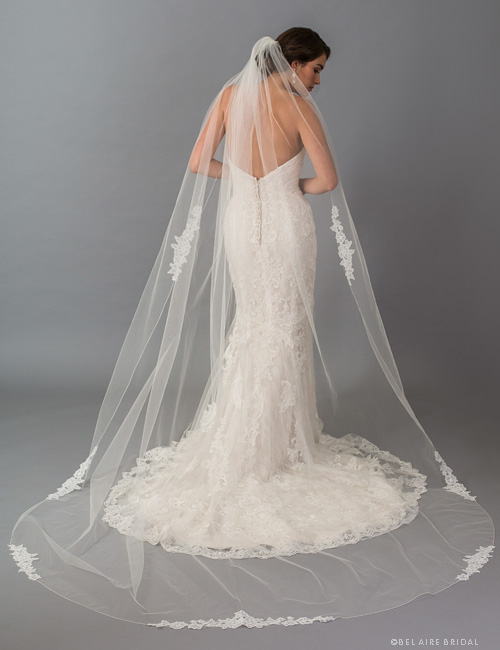 V7400C 1-tier  cathedral with  floral lace appliqués.