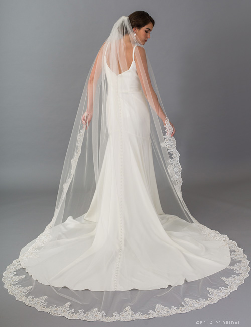 V7402C 1-tier cathedral veil embellished with sequins