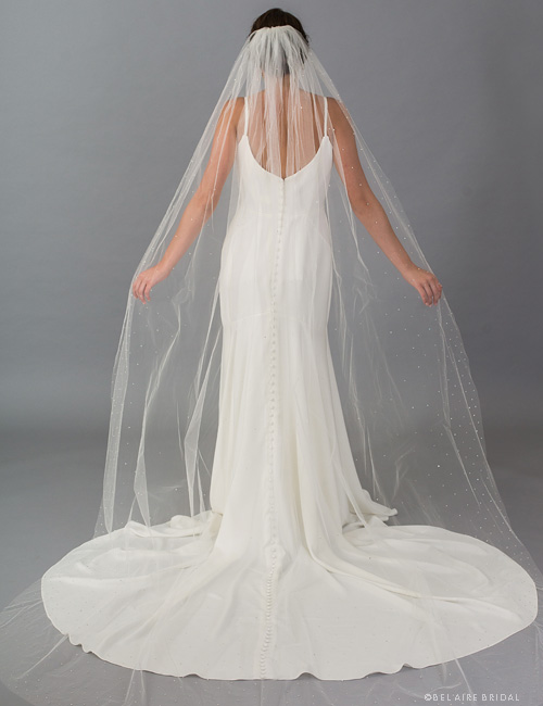 V7410C 1-tier cathedral veil scattered with rhinestones