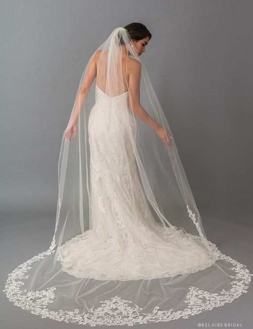 V7414C 1-tier cathedral veil with dramatic Venise lace points