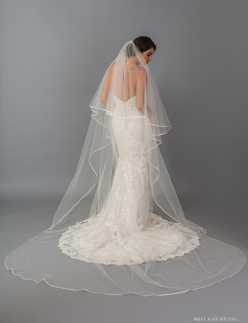 V7415C   2-tier foldover veil with folded ribbon edge