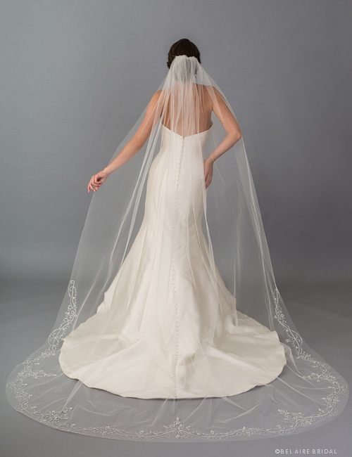 Bel-Aire-Bridal-V7403 Cathedral Veil - Long Wedding Veils - Beaded Cathedral Veils