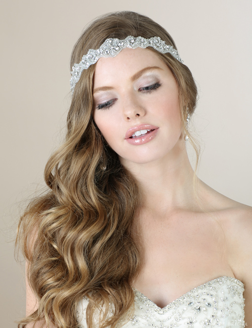 6562 Beaded and rhinestone tie headband