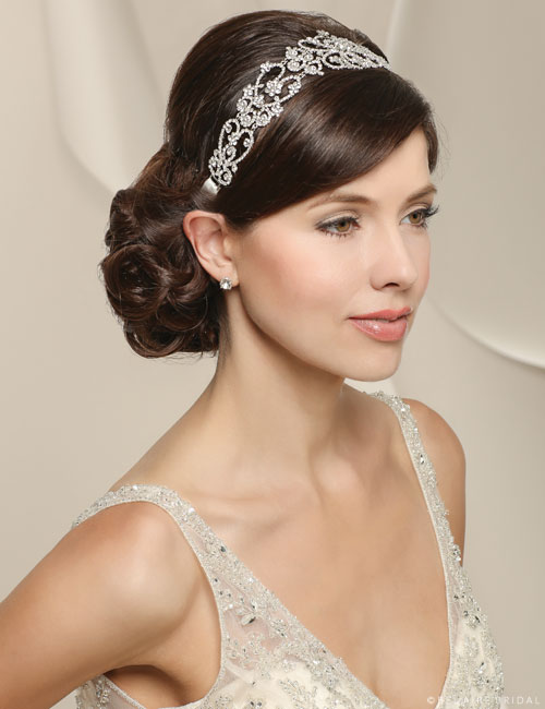 6518 Sparkling rhinestone linked headband with satin ties