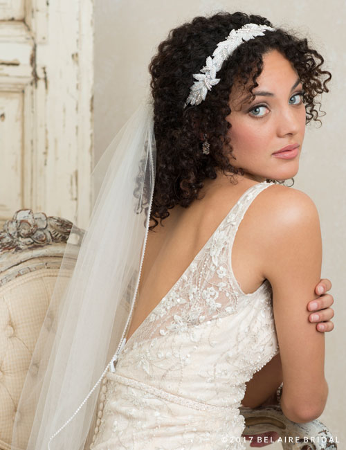 6758 Blush and crystal tie headband