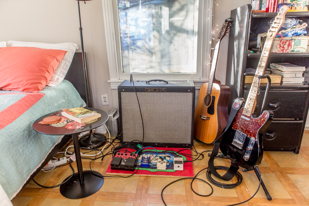 Amp and guitars in Alex Cohen's bedroom. Photo shot with Canon 6D.