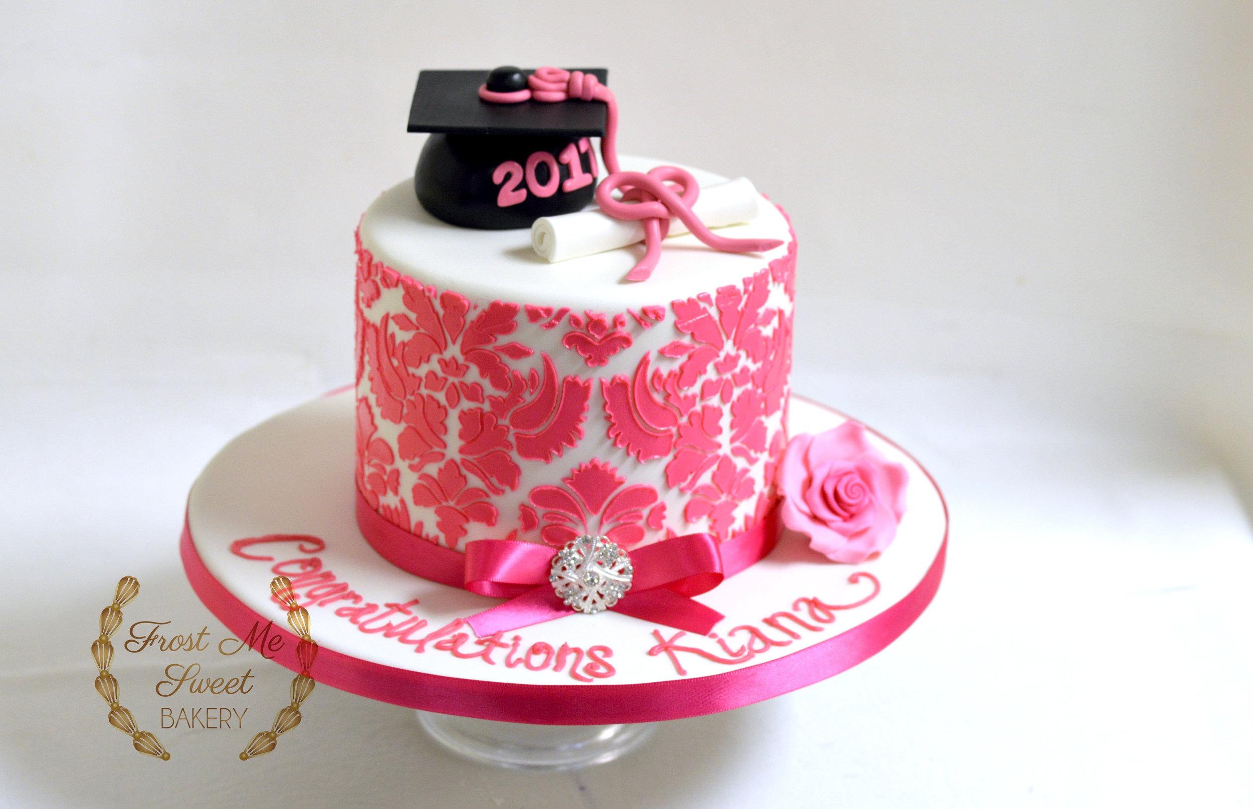 Pink Damask Graduation Cake