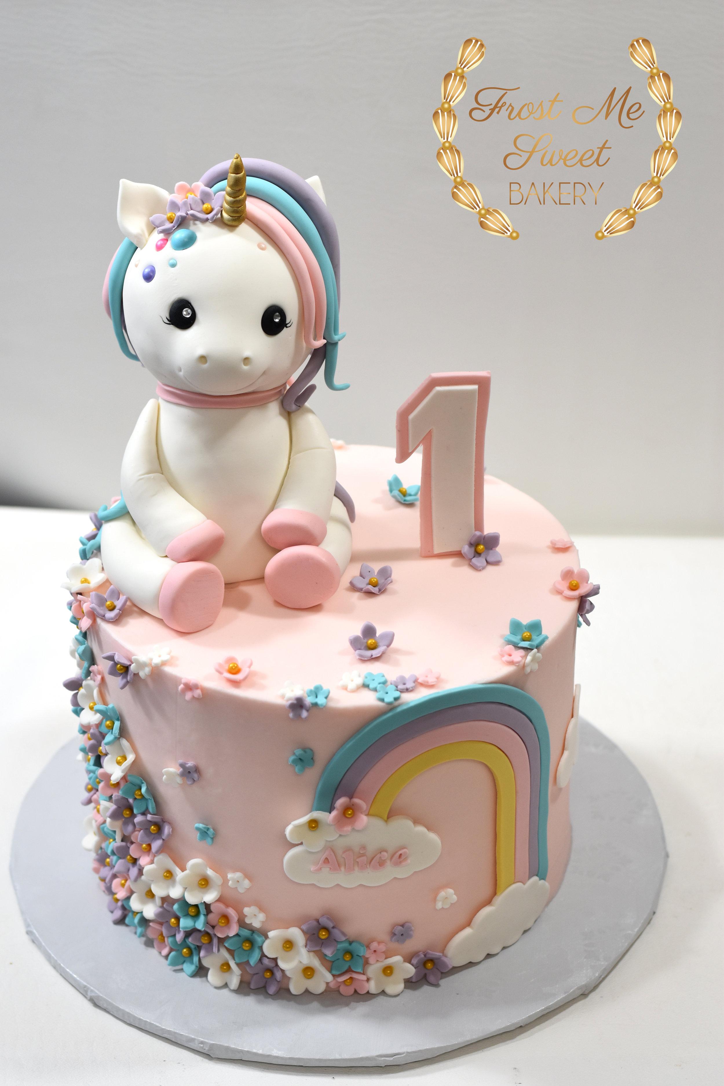 Adorable Baby Unicron First Birthday Cake