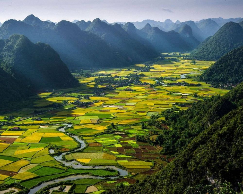 Bac Son Valley, Vietnam    A rural area in Vietnam's northeast, this lowland is a heavenly quilt of rice paddies. ( via )
