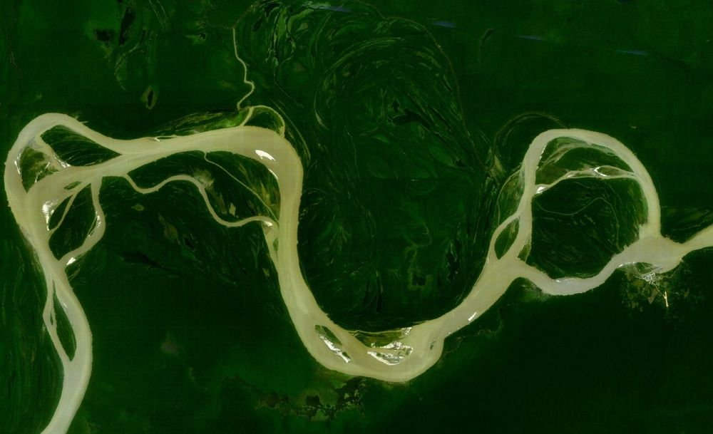 Amazon River    This is just a slice of the second (or first, depending on who you ask) longest river in the world. ( via )