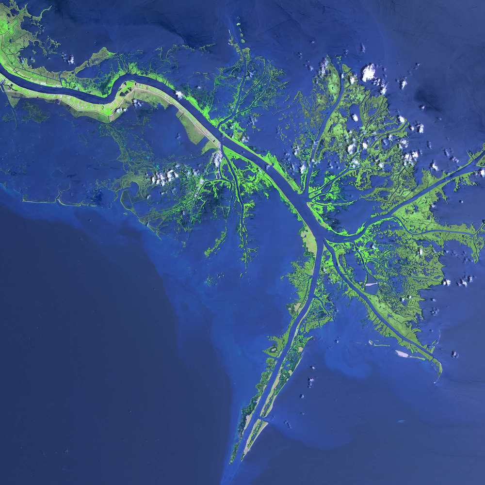 Mississippi River Delta, Louisiana    A wild shot, but the wildest thing is there are people living on those tiny strands of land!