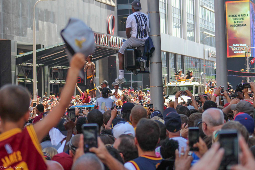 Absolute bedlam at the Cavs Championship Parade