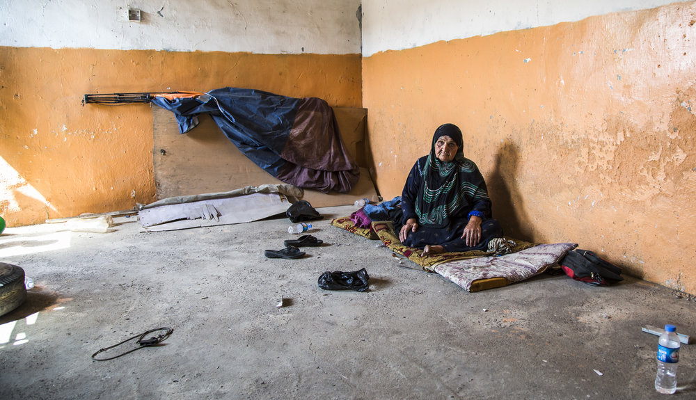 A woman's living space in West Mosul, Iraq.