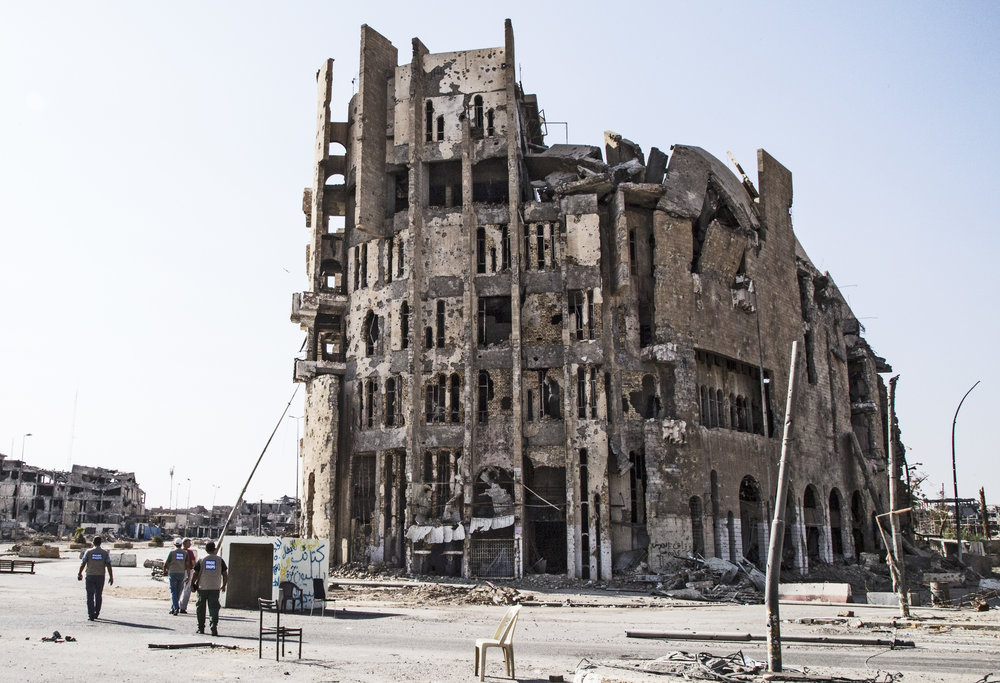 A damaged building near the center of West Mosul where ISIS would execute people by forcing them off the top of the building.