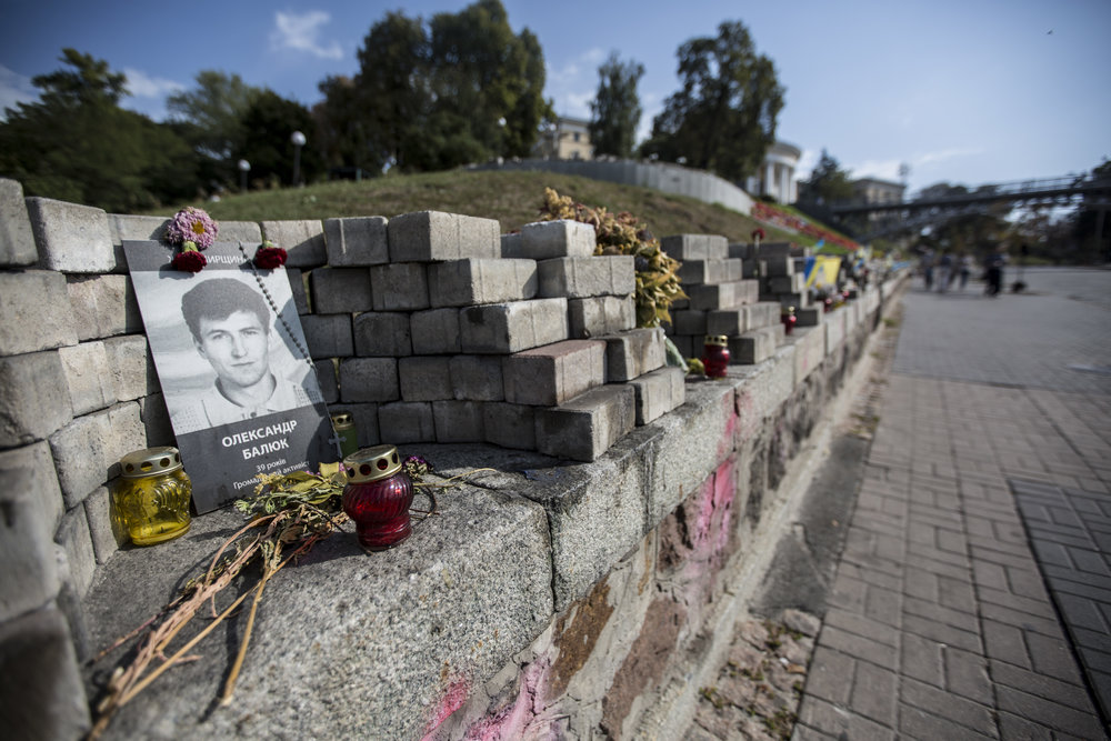 A street memorial of those who lost their lives during the Euromaidan revolution.