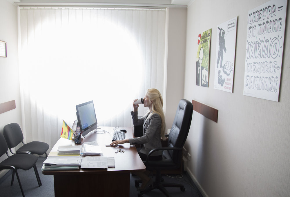 Svitlana Zalishchuk, a member of Ukraine's national parliament, in her office in Kiev.