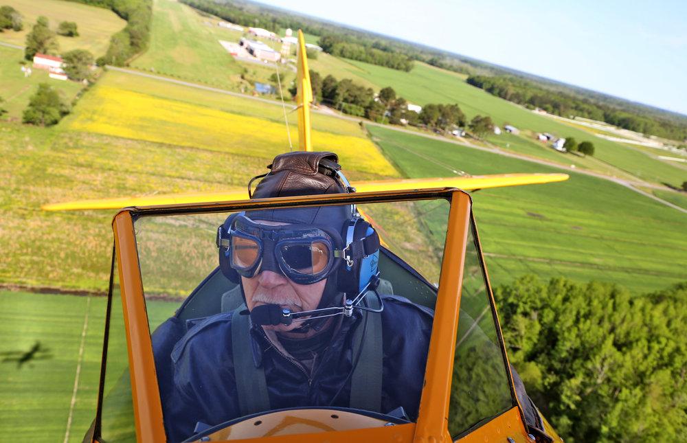 Onboard a WWII era Stearman biplane near Virginia Beach, Virginia.