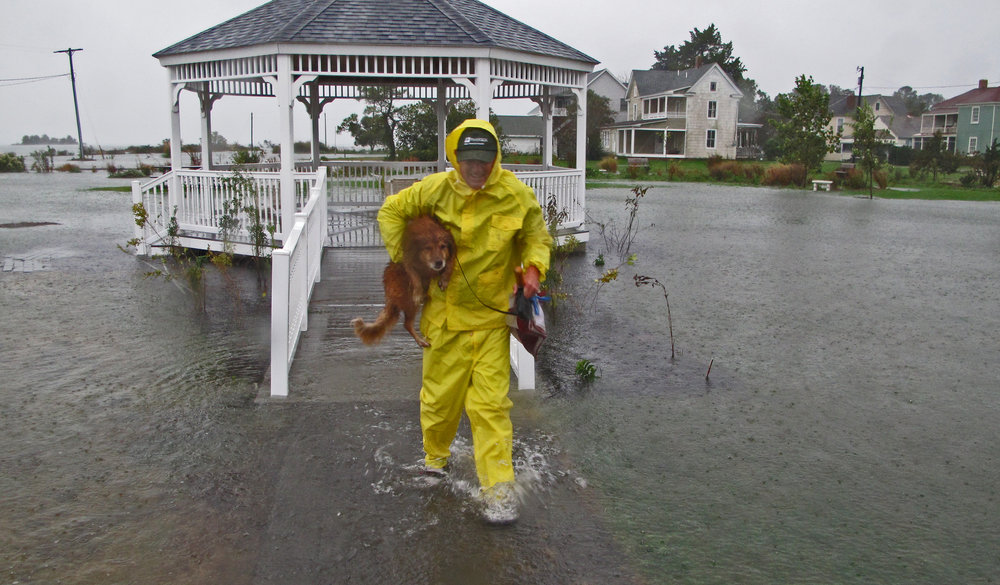 A man and his dog on the eastern shore of Virginia during hurricane Sandy.
