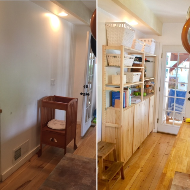 Before and after close-up - The shelves are a perfect fit!