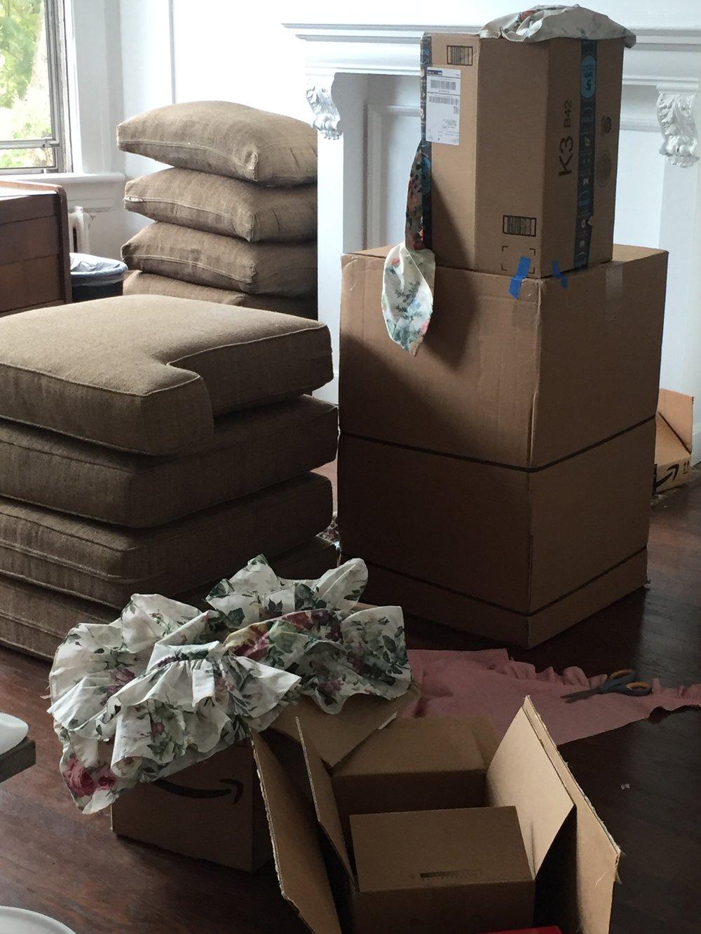 Cardboard, cushions, fabric