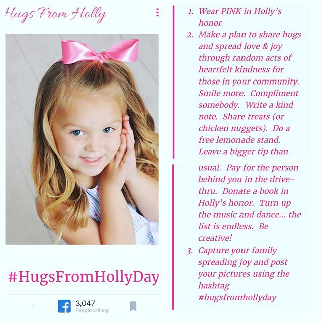 Tomorrow everyone wear Pink to show support ! #hugsfromhollyday