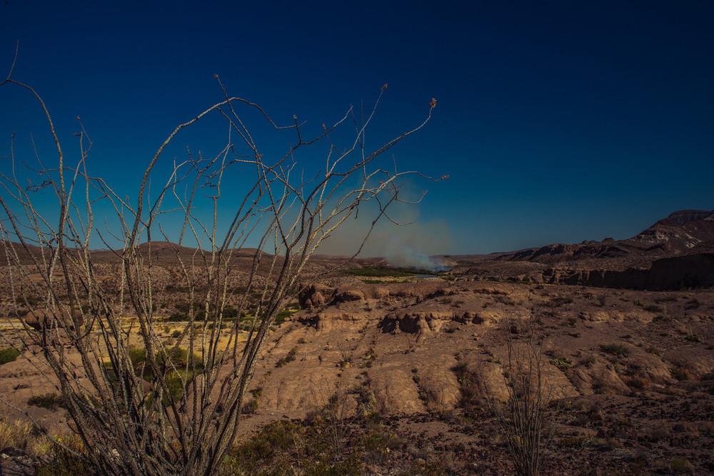 A fire on the Rio Grande. Big Bend, Texas