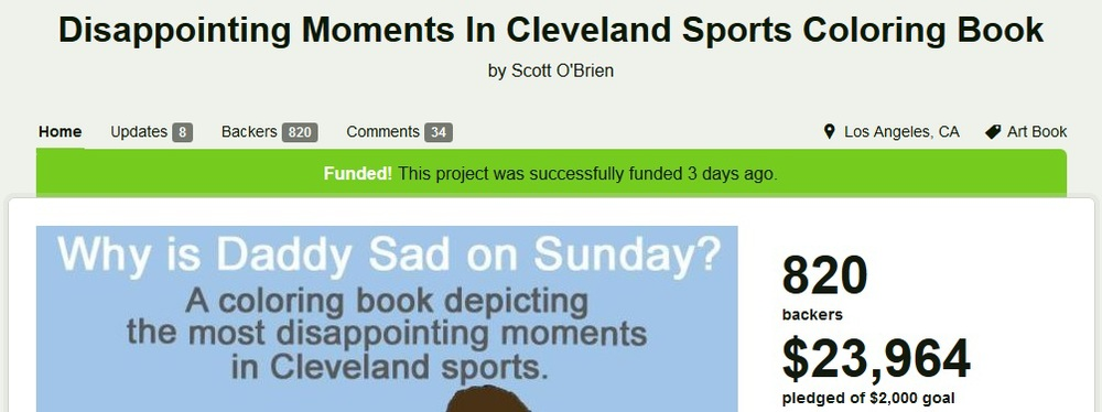 kickstarter screenshot - Cleveland Sports Coloring Book