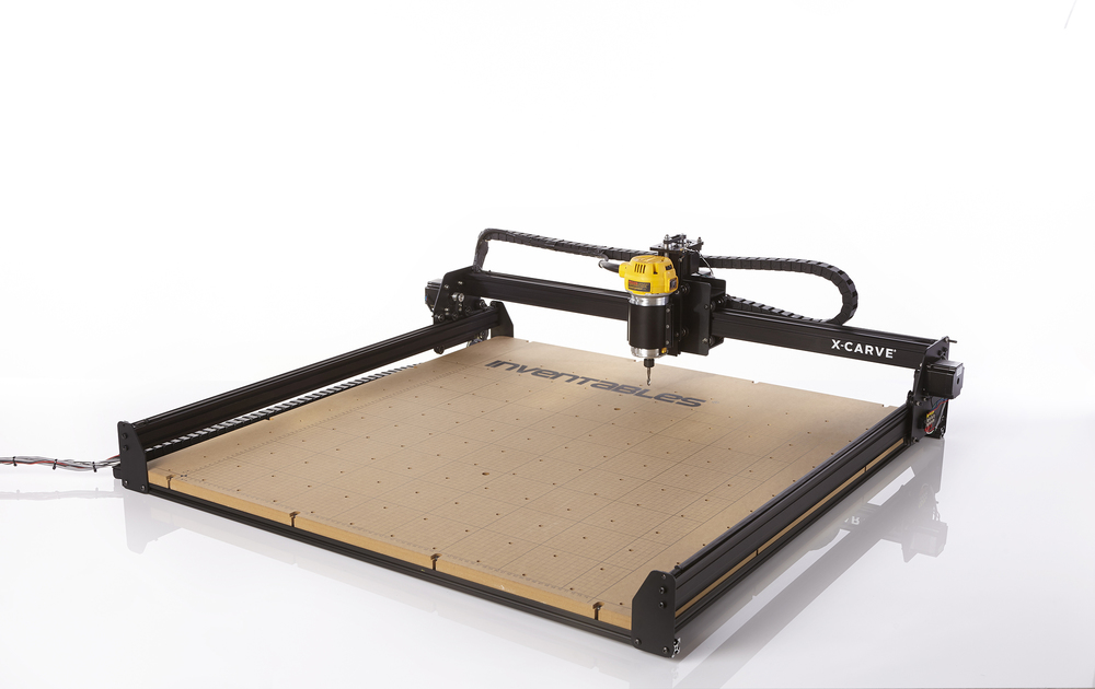 X-Carve CNC - The 3d carving machine for the maker in all of us. Clean, quiet, and easy to use with a maximum working size of 1000mm x 1000mm. Paired with Easel, a free web-based software, you can carve complex designs in wood, plastic, soft metal, and more.