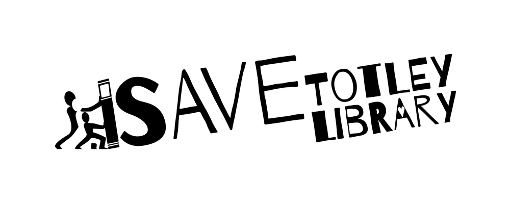 Logo for Save Totley Library campaign. Black and white version
