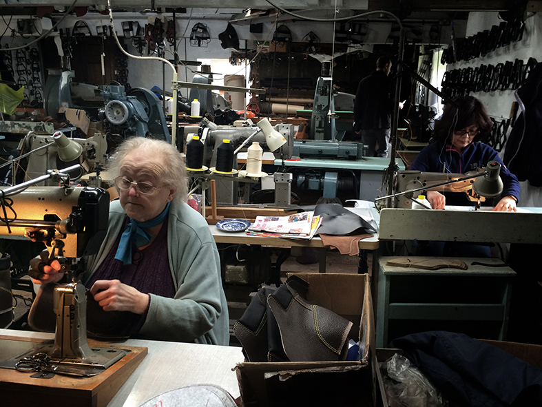 William Lennon Britians oldest boot maker factory visit in Stoney Middleton, Derbyshire nr Bakewell. Hand stitching the uppers.