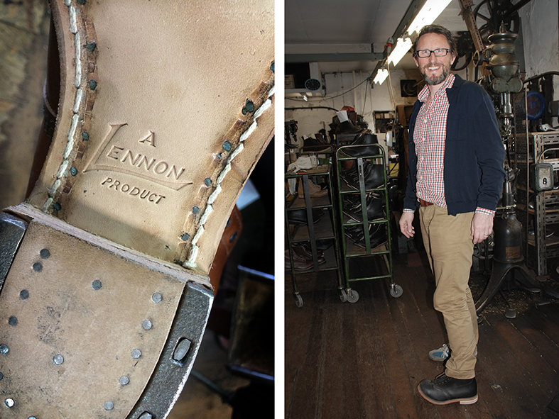 A proud William Lennon stamp in a boot sole showing the stitching and unique riveting. I try on a pair of William Lennon Hill boots fresh from the factory, Stone Middleton, Derbyshire.