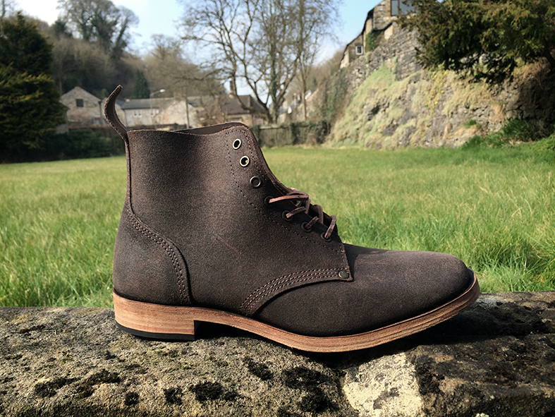 William Lennon B5 WW1 boot in Stoney Middleton, Derbyshire, outside their 100 year old factory. These boots are crafted on the original WW1 lasts faithfully following the original lines and details.