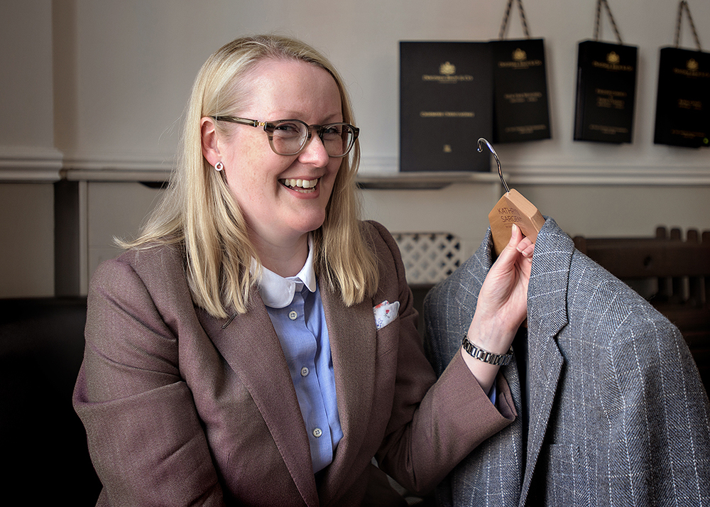 Kathryn Sargent bespoke tailor with her suit to be shown in Leeds at  Tailored: A Very British Fashion  in Leeds City Museum