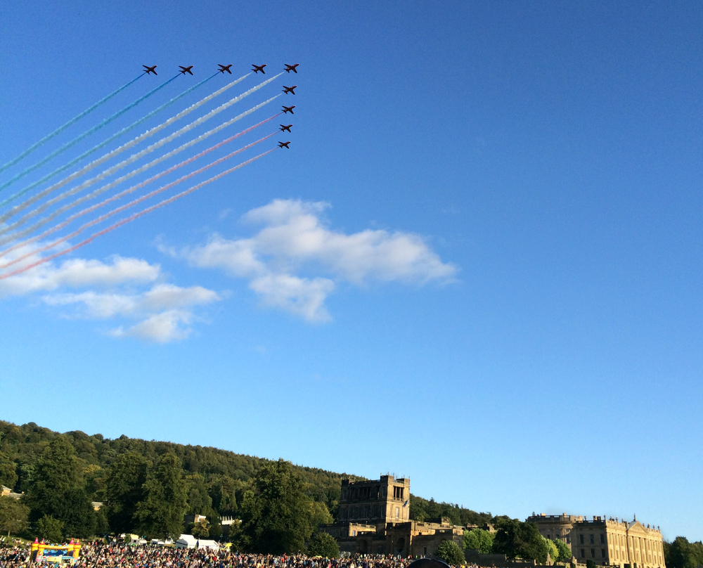 red arrows over chatsworth country fair 2015 derbyshire