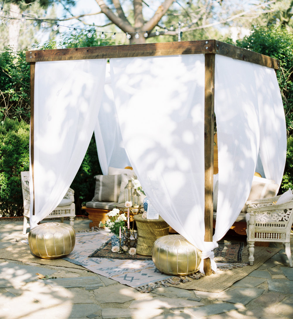 Cabanas - We've crafted cabanas/pergolas that look incredible with lights, fabric, or floral/plant decor. $170