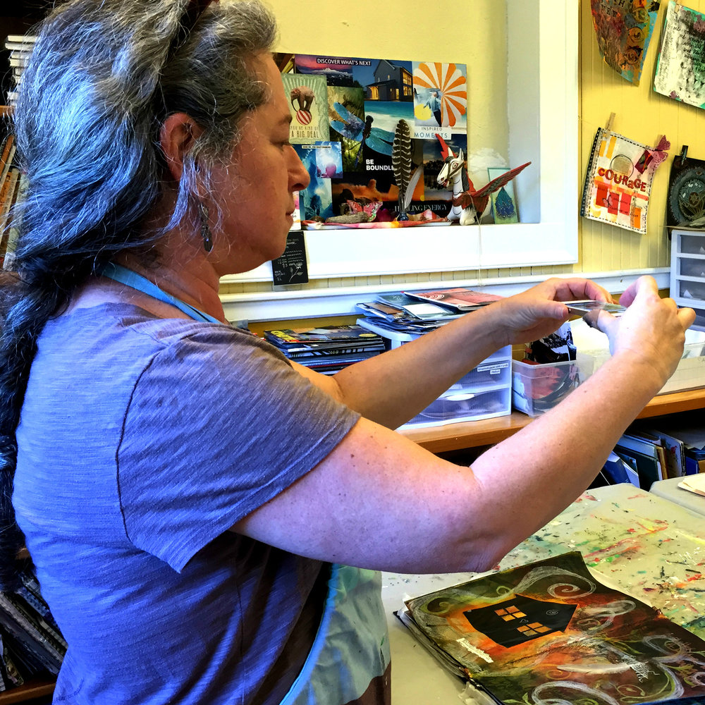 Hold your smart phone (or camera) horizontally over your open art journal page.