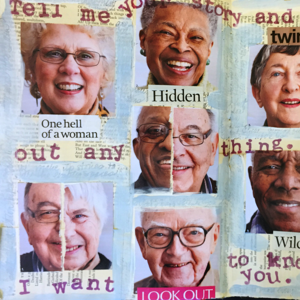 COLLECT ONE TYPE OF IMAGE AND USE IT TO TELL YOUR STORY. I FOUND A GROUP OF FACES AND THEY INSPIRED THE PAGE.