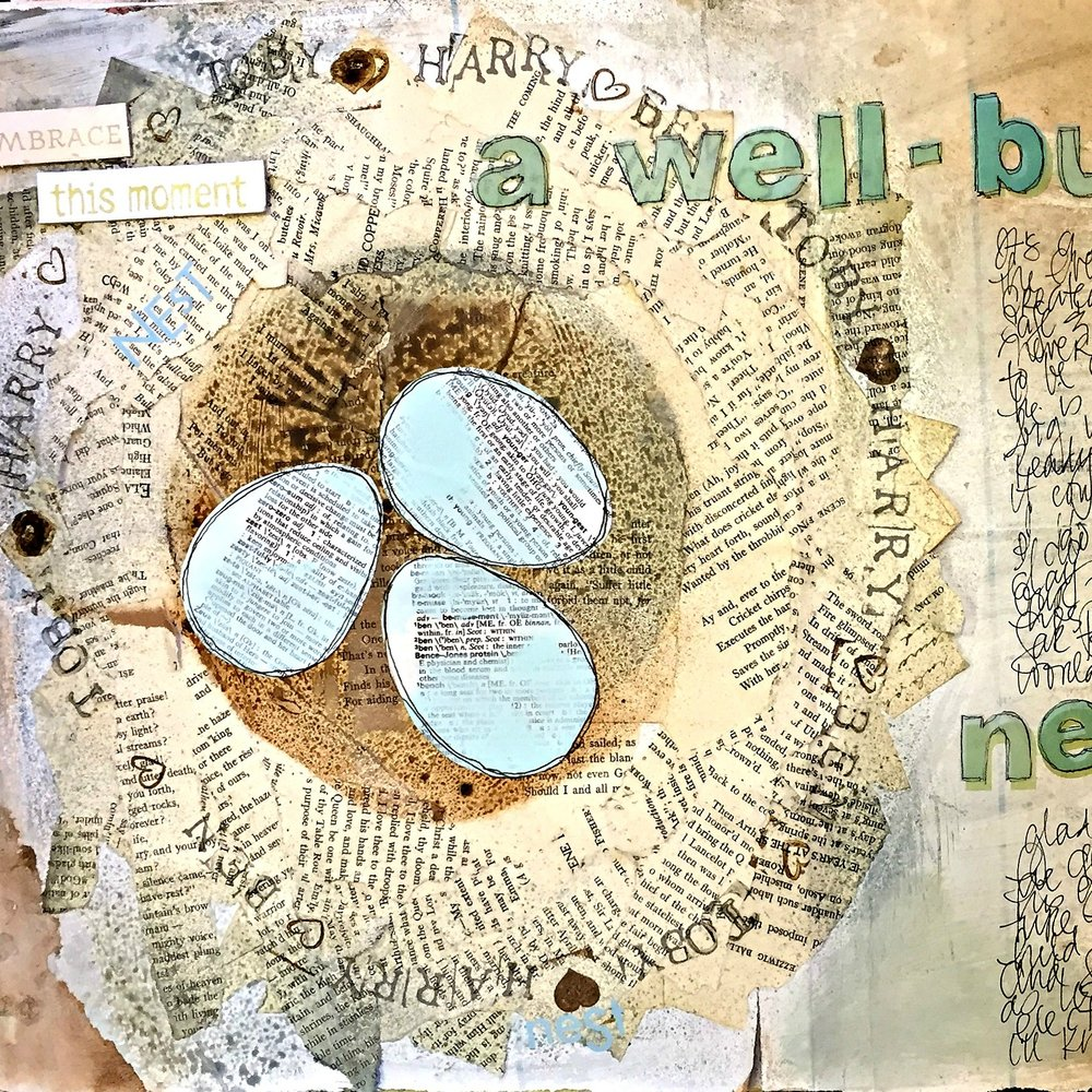 USE UNLIKELY OR SURPRISING FOUND PAPERS TO CREATE IMAGES, LIKE TORN PIECES OF BOOK PAGES TO CREATE A NEST.