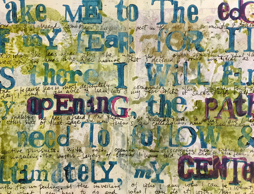 I used a mixed font foam alphabet + paint to create this statement across a whole page. I stamped particularly important words in two colors to help them pop out visually.