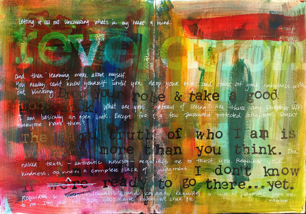 """Here I used dry stamps on wet paint to remove the paint, thus the word """"revelation"""" actually reveals the paint below the topmost layer."""