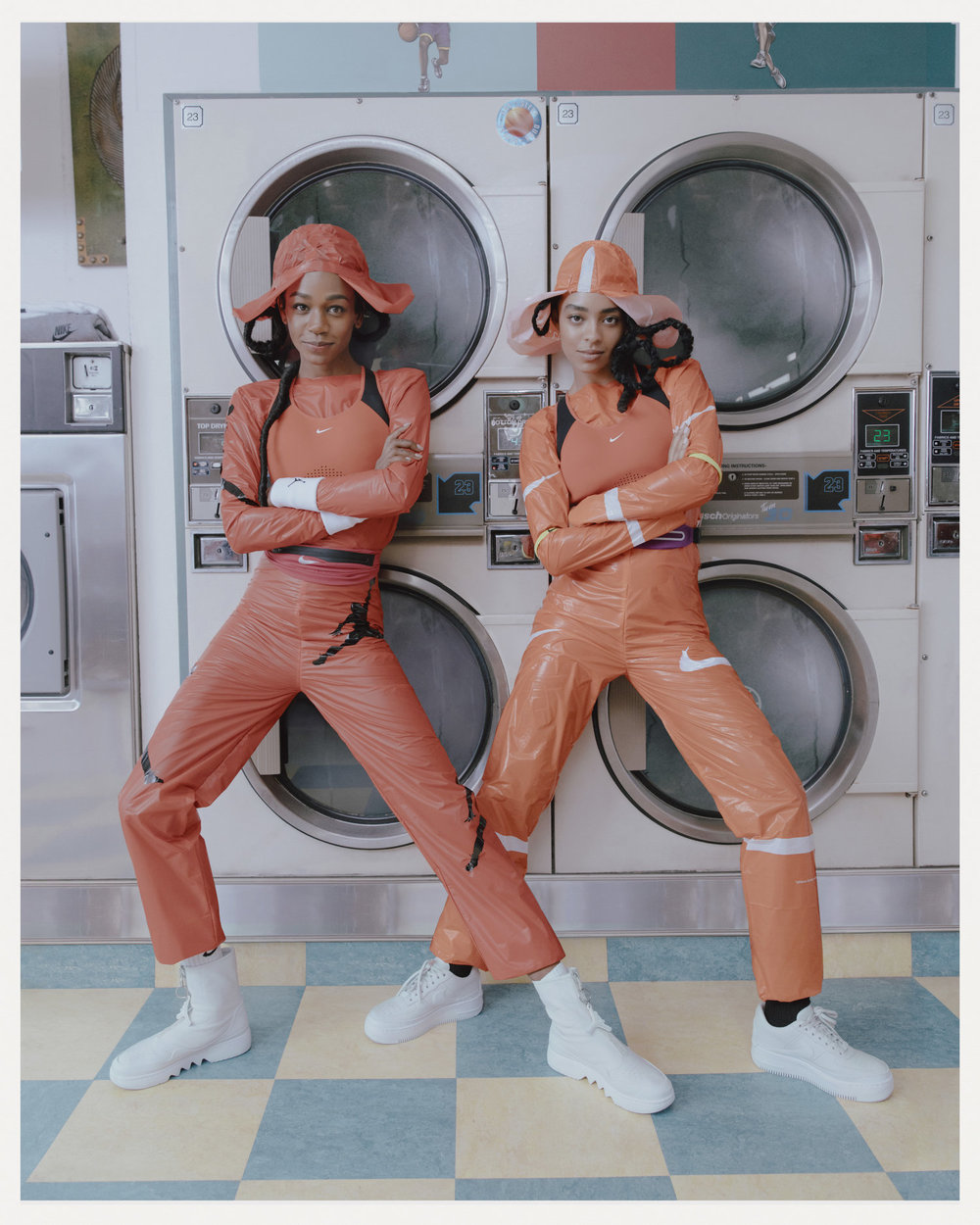Project //  The 1 Reimagined - Nike  Role  // Designed and sewed plastic suits and hats           Photographer //  Kristin-Lee Moolman                                                 Models  // Abra, Kelsey Lu  Stylist //  Ib Kamara