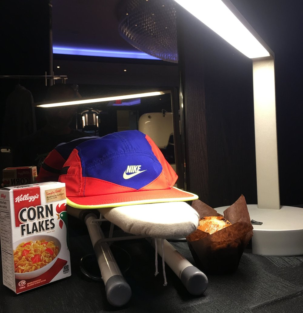 Nike shoot - behind the scenes: Nourishment, lighting, and a mini ironing board.