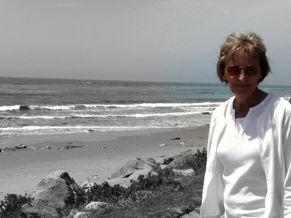 Linda Cunningham, May 2008. Santa Barbara, CA. The first time she ever saw a whale. We stayed and watched for over an hour. I will never forget this afternoon. (This is also the morning I told my Mom I was pregnant with Charlie.)