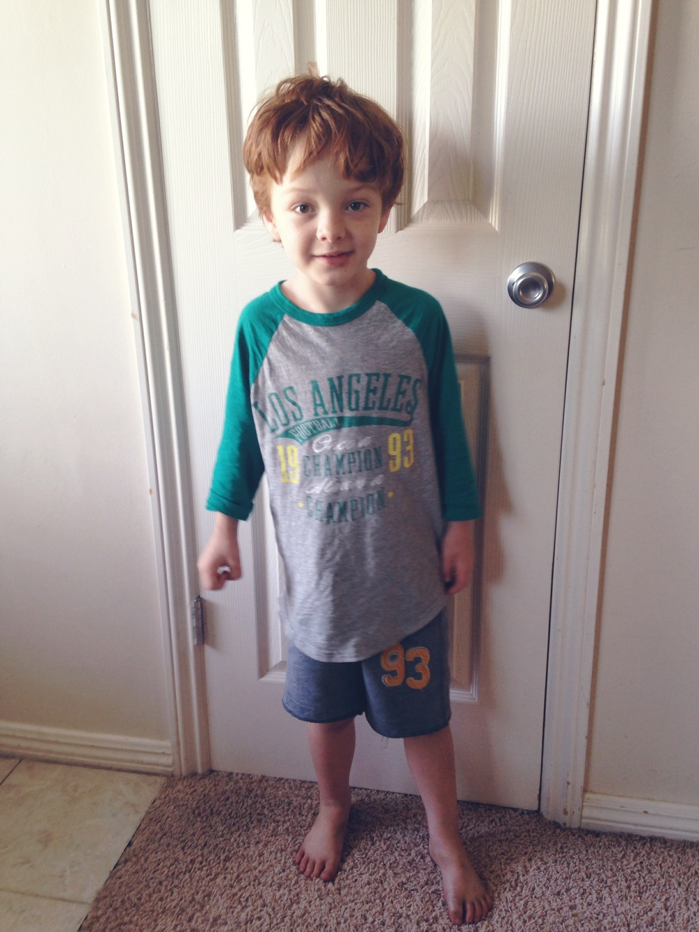 "This is his favorite shirt right now because ""daddy loves Los Angeles."""