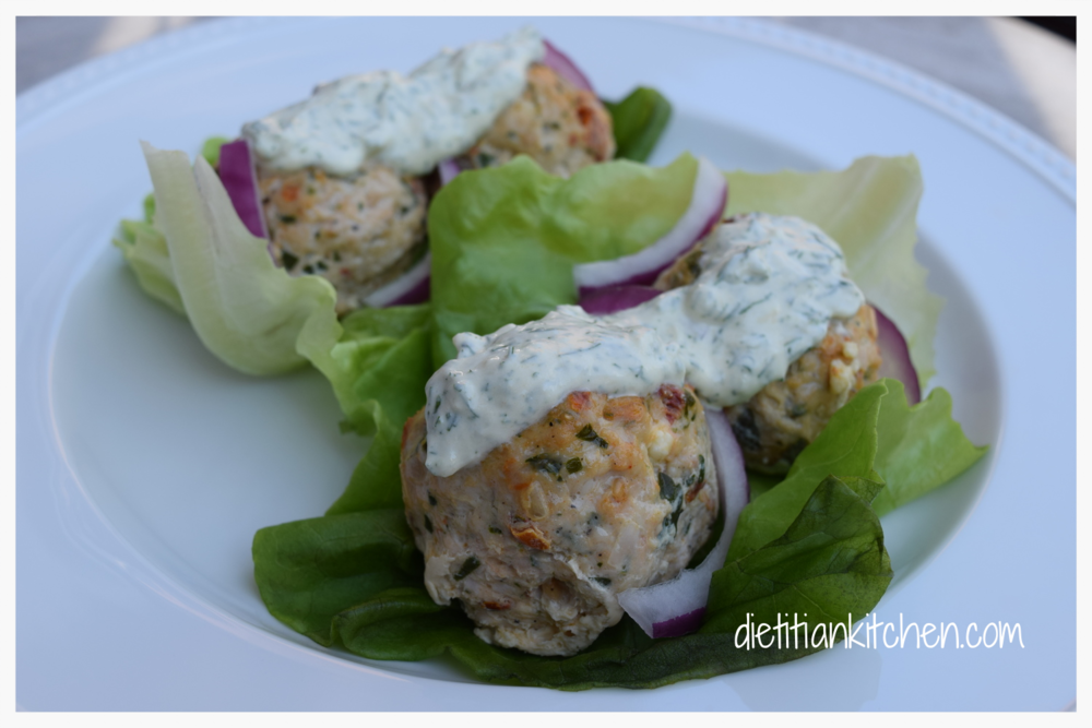 Turkey Lettuce Wraps with Fresh Tzatziki Sauce