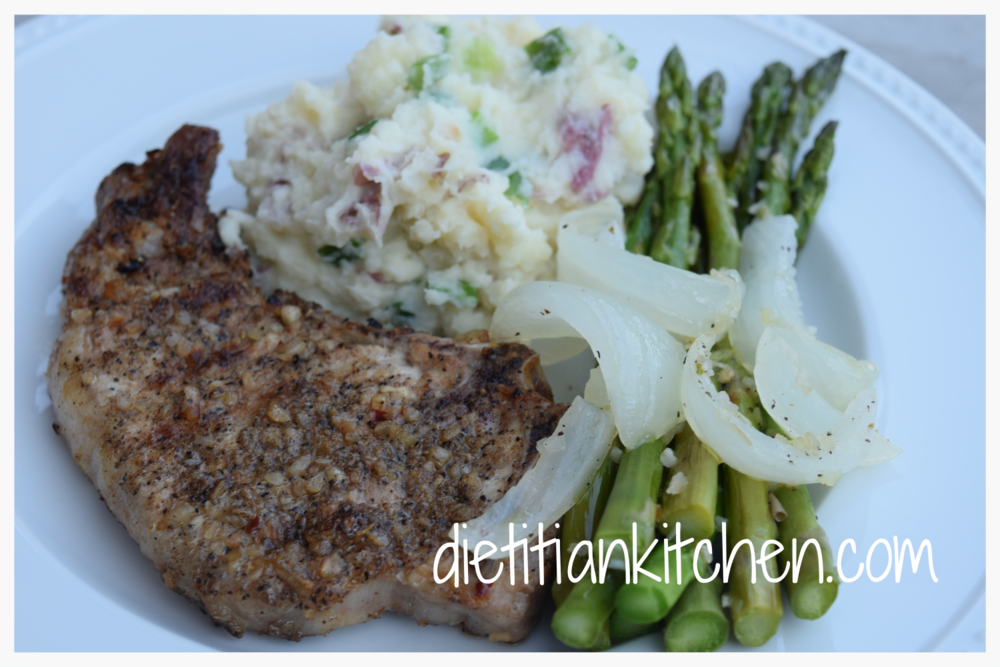 Grilled Pork with Smashed Red Potatoes and Asparagus