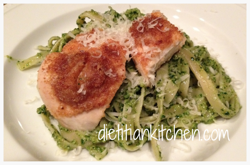 Roasted Chicken Breast over Fettuccine with Pesto