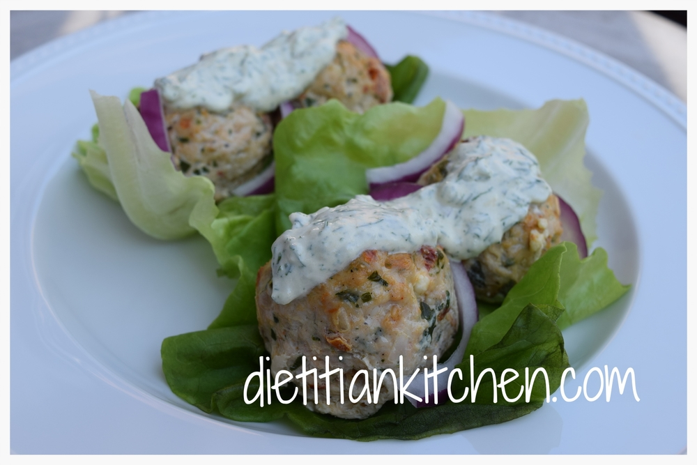 Turkey Lettuce Wraps with Fresh Tzatziki